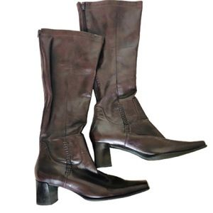 Franco Sarto Brown Leather Knee High Heeled Boots